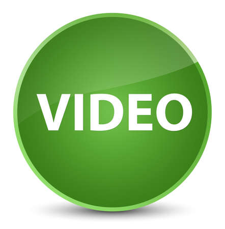 Video isolated on elegant soft green round button abstract illustration Stock Photo