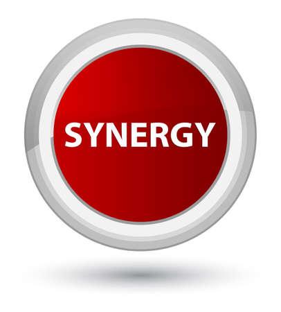 Synergie op eerste rode ronde knoop abstracte illustratie die wordt geïsoleerd Stockfoto
