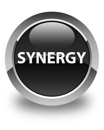 Synergie op glanzende zwarte ronde knoop abstracte illustratie die wordt geïsoleerd Stockfoto
