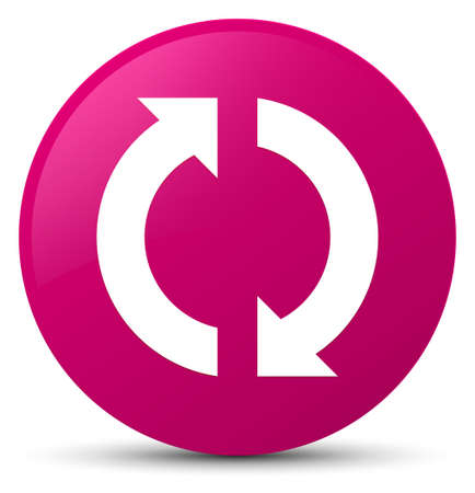 Update icon isolated on pink round button abstract illustration Stock Photo