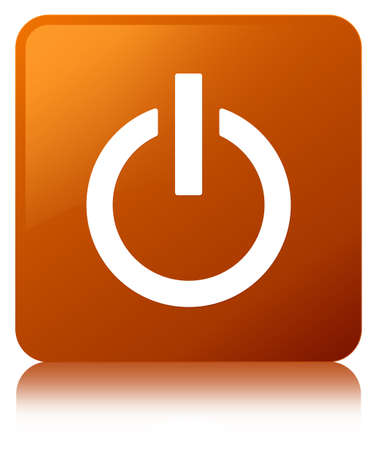 Power icon isolated on brown square button reflected abstract illustration Stock Photo