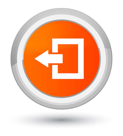 Logout icon isolated on prime orange round button abstract illustration