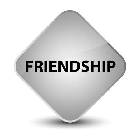 Friendship isolated on elegant white diamond button abstract illustration