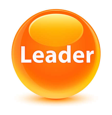 Leader isolated on glassy orange round button abstract illustration