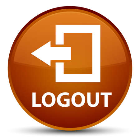 exit sign icon: Logout isolated on special brown round button abstract illustration