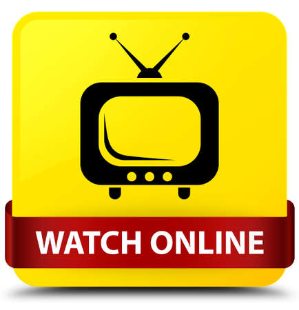 Watch online isolated on yellow square button with red ribbon in middle abstract illustration
