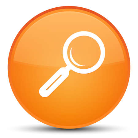 Magnifying glass icon isolated on special orange round button abstract illustration