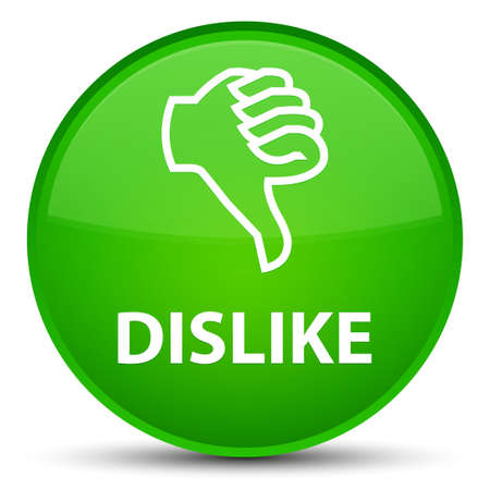 Dislike isolated on special green round button abstract illustration Stock Photo