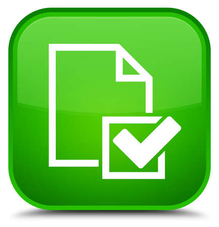 Checklist icon isolated on special green square button abstract illustration