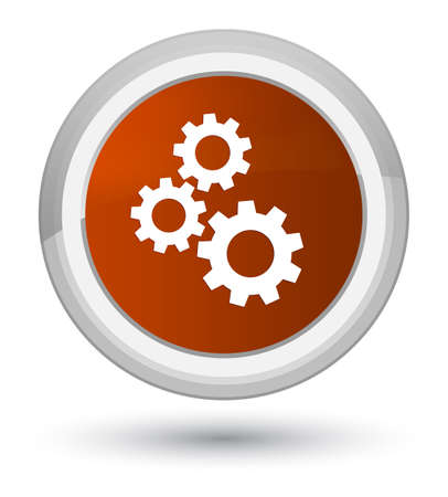 cogwheel: Gears icon isolated on prime brown round button abstract illustration
