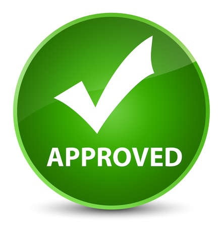 Approved (validate icon) isolated on elegant green round button abstract illustration Stock Photo