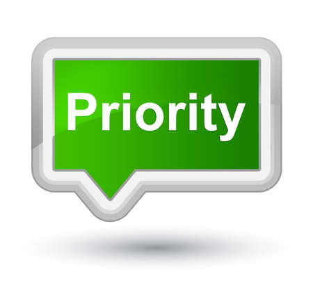 Priority isolated on prime green banner button abstract illustration