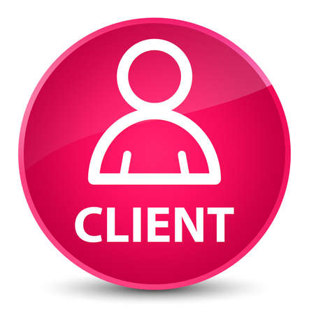 Client (member icon) isolated on elegant pink round button abstract illustration