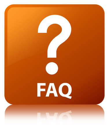 Faq (question icon) isolated on brown square button reflected abstract illustration