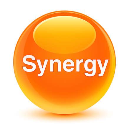 Synergie op glazige oranje ronde knoop abstracte illustratie die wordt geïsoleerd