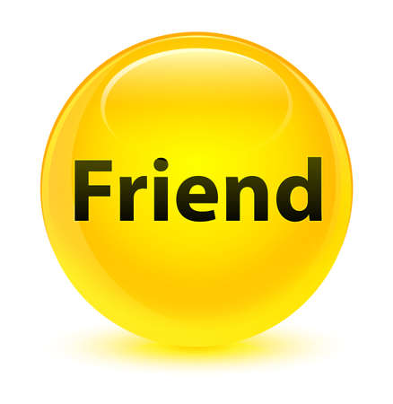 Friend isolated on glassy yellow round button abstract illustration Reklamní fotografie