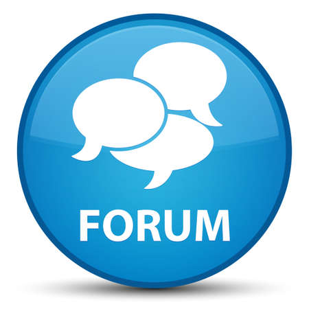 Forum (comments icon) isolated on special cyan blue round button abstract illustration