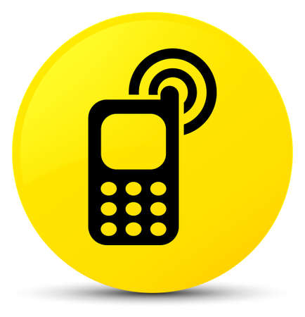 Cellphone ringing icon isolated on yellow round button abstract illustration Stock Photo