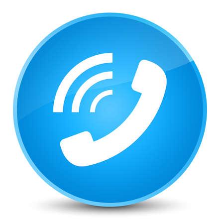 エレガントなシアンの青い丸いボタンの抽象的なイラストに分離された電話音のアイコン