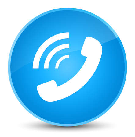 Phone ringing icon isolated on elegant cyan blue round button abstract illustration