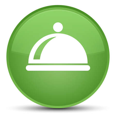 Food dish icon isolated on special soft green round button abstract illustration