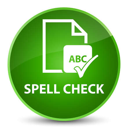 Spell check document isolated on elegant green round button abstract illustration Stock Photo