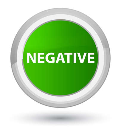 Negative isolated on prime green round button abstract illustration