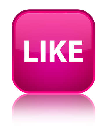 Like isolated on special pink square button reflected abstract illustration