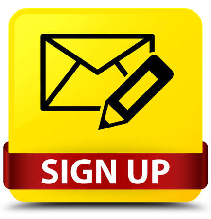 Sign up (edit mail icon) isolated on yellow square button with red ribbon in middle abstract illustration