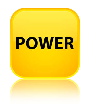 Power isolated on special yellow square button reflected abstract illustration