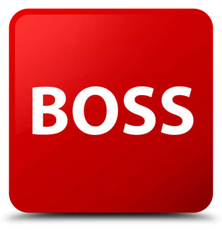 Boss isolated on red square button abstract illustration