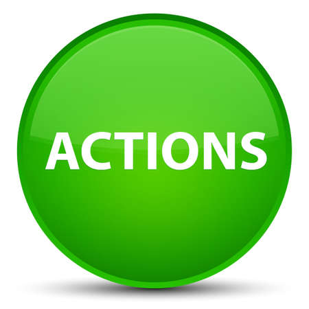 Actions isolated on special green round button abstract illustration