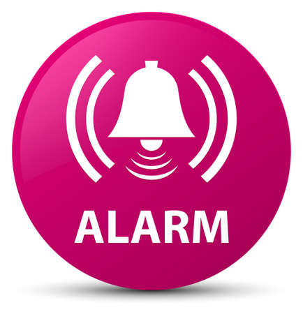 Alarm (bell icon) isolated on pink round button abstract illustration