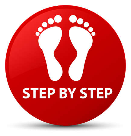 Step by step (footprint icon) isolated on red round button abstract illustration