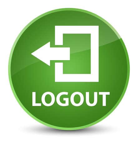 Logout isolated on elegant soft green round button abstract illustration