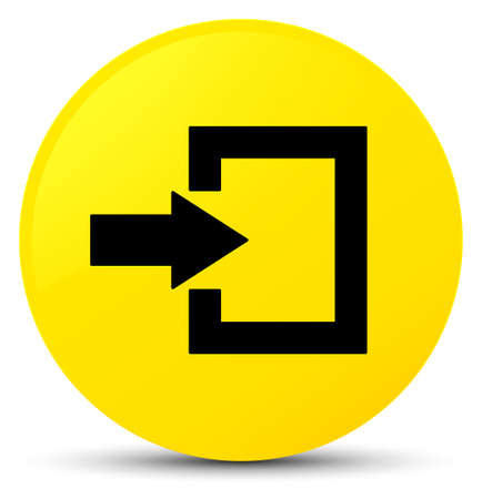Login icon isolated on yellow round button abstract illustration