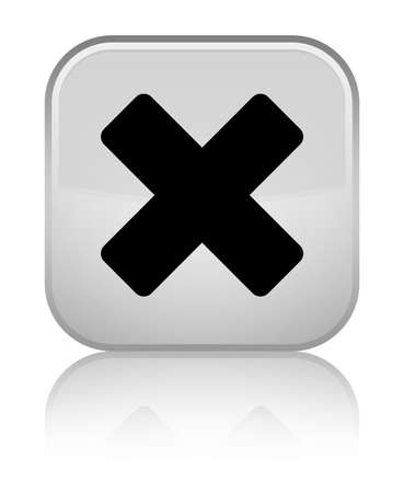 Cancel icon isolated on special white square button reflected abstract illustration