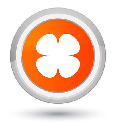 prime: Flower leaf icon isolated on prime orange round button abstract illustration