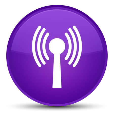 Wlan network icon isolated on special purple round button abstract illustration