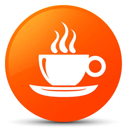 Coffee cup icon isolated on orange round button abstract illustration