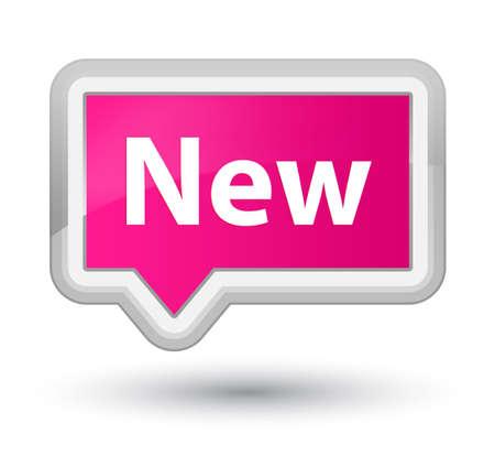 新しい首相のピンクのバナー ボタン抽象的なイラストに分離 写真素材