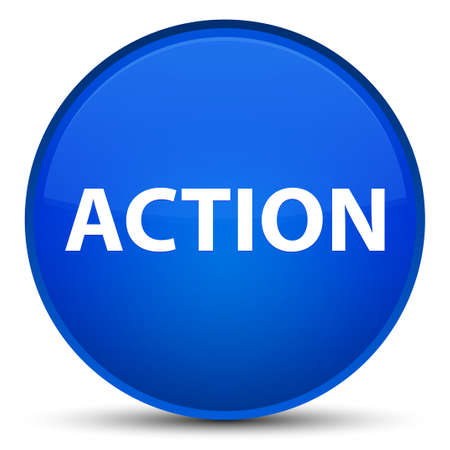 Action isolated on special blue round button abstract illustration