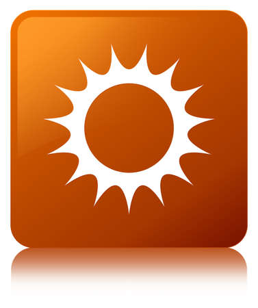 Sun icon isolated on brown square button reflected abstract illustration Stock Photo