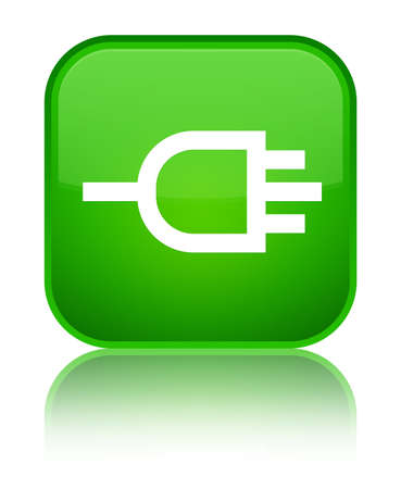 Connect icon isolated on special green square button reflected abstract illustration