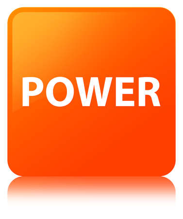 Power isolated on orange square button reflected abstract illustration
