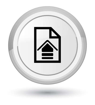 Upload document icon isolated on prime white round button abstract illustration