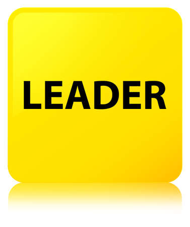 Leader isolated on yellow square button reflected abstract illustration
