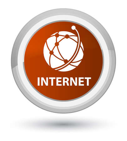 Internet (global network icon) isolated on prime brown round button abstract illustration