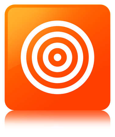Target icon isolated on orange square button reflected abstract illustration