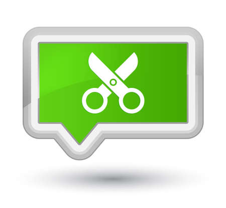 Scissors icon isolated on prime soft green banner button abstract illustration